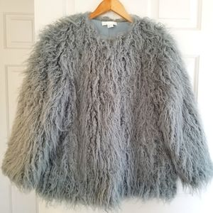 H&M Blue Grey Shaggy Faux Fur Long Sleeve Crop Winter Coat